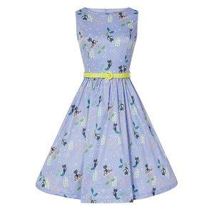 Lindy Bop Audrey Blue Mercats Dress NWT